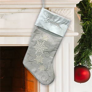 Embroidered Silver Snowflake Stocking | Christmas Stockings