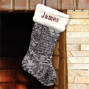Embroidered Silver Sequin Stocking with Fur Cuff | Personalized Stocking