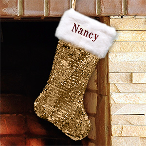 Embroidered Gold Sequin Stocking with Fur Cuff | Unique Christmas Stockings
