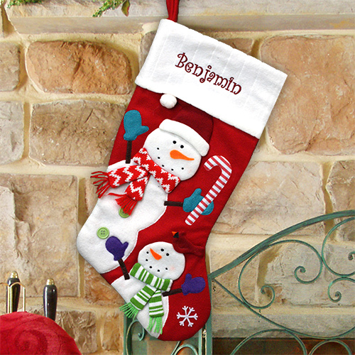 Embroidered Country Red Stocking with Snowman | Personalized Stocking