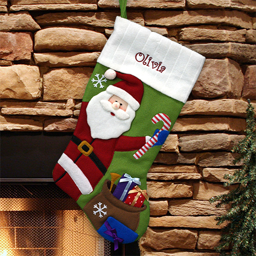 Embroidered Country Green Santa Stocking | Personalized Christmas Stockings