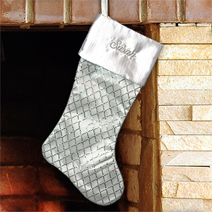 Embroidered White Sequined Diamond Stocking