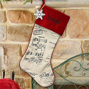 Embroidered Burlap Stocking with Black Music Notes | Embroidered Christmas Stockings