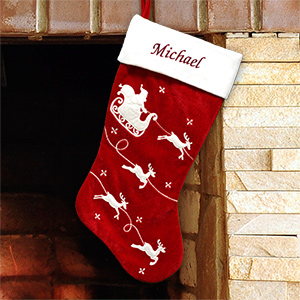 Embroidered Red Velvet Stocking with White Santa Sleigh | Personalized Stocking