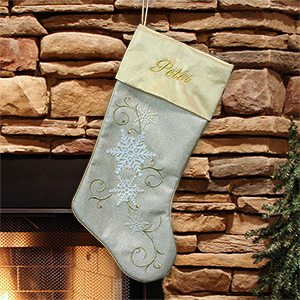 Embroidered Gold Snowflake Stocking | Embroidered Christmas Stockings