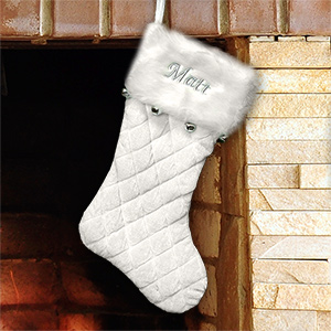 Embroidered Ivory Quilted Stocking with Bells