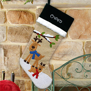 Embroidered Burlap Reindeer Stocking S106879