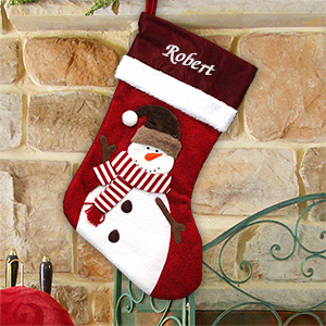Embroidered Red Felt Snowman Stocking