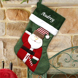 Embroidered Green Felt Santa Stocking S106899