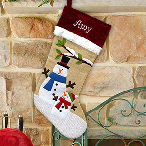 Embroidered Burlap Snowman Stocking