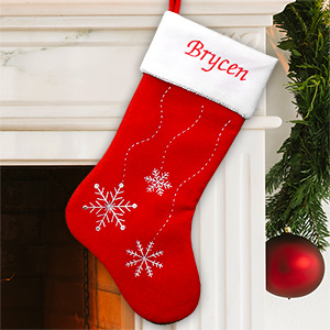 Embroidered Snowflake Christmas Stocking S34559