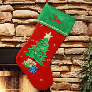 Christmas Tree Embroidered Stocking | Embroidered Christmas Stocking
