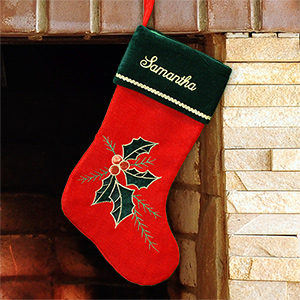 Embroidered Holly Leaves and Berries Christmas Stocking S34649