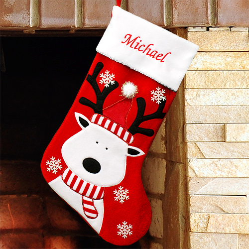 Embroidered Reindeer Christmas Stocking | Personalized Stocking