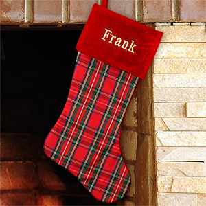 Embroidered Red and Black Plaid Christmas Stocking | Personalized Christmas Stockings