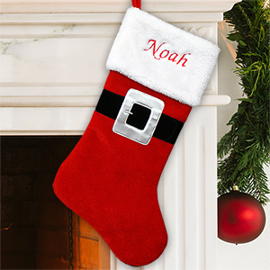 Embroidered Santa Suit Christmas Stocking
