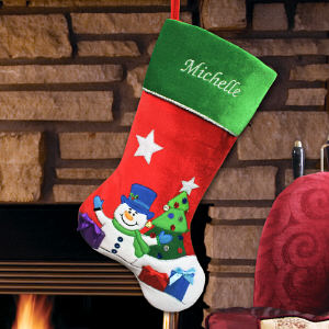 Embroidered Snowman Velvet Stocking