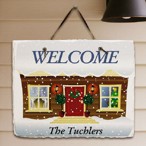 Personalized Winter Welcome Slate Plaque | Personalized Christmas Signs