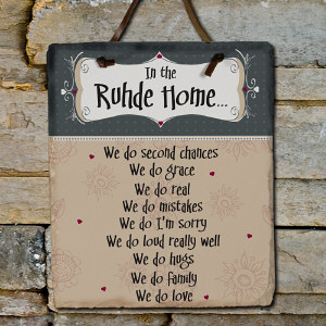 In Our Home Personalized Slate Plaque