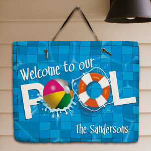 Personalized Swimming Pool Welcome Slate Plaque 63143377
