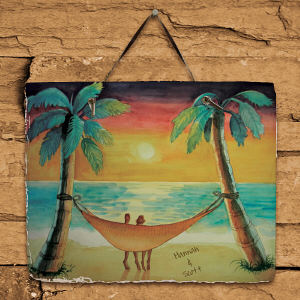 Personalized Beach Sunset Slate Plaque