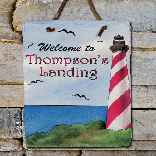 Personalized Lighthouse Welcome Slate Plaque | Personalized Welcome Signs