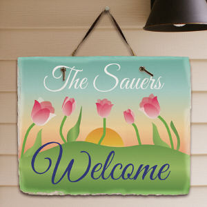 Personalized Spring Tulips Welcome Slate Plaque
