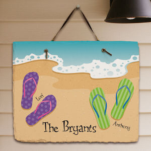 Personalized Flip Flop Family Slate Plaque