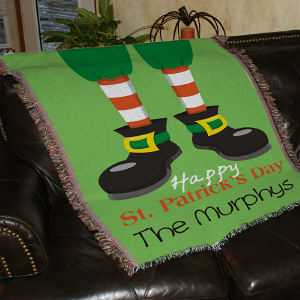 Personalized Happy St. Patrick's Day Tapestry Throw Blanket