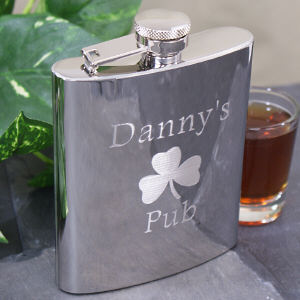 Engraved Shamrock Pub Flask