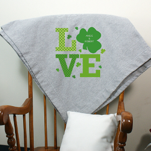 Personalized Shamrock Love Fleece Blanket