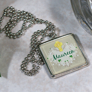 Personalized Irish Blessings Square Frame Necklace