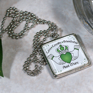Personalized Irish Claddagh Square Frame Necklace