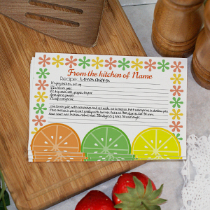 Personalized Citrus Kitchen Recipe Cards