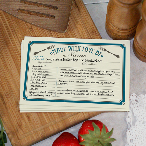 Personalized Made with Love Recipe Cards 172803