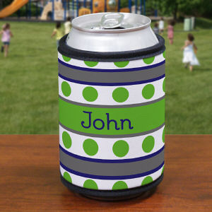 Personalized Green Polka Dots and Stripes Can Koozie