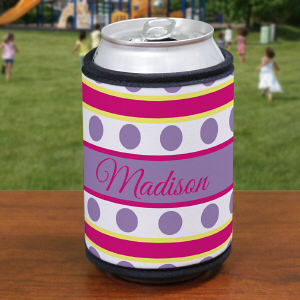 Personalized Purple Polka Dots and Stripes Can Koozie