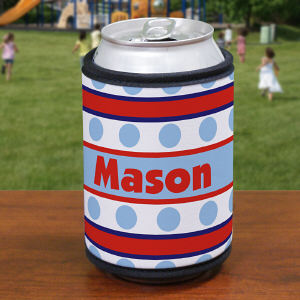 Personalized Blue Polka Dots and Stripes Can Koozie
