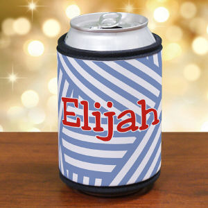 Personalized Stripes Koozie can Holder