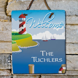 Lighthouse Welcome Slate Plaque