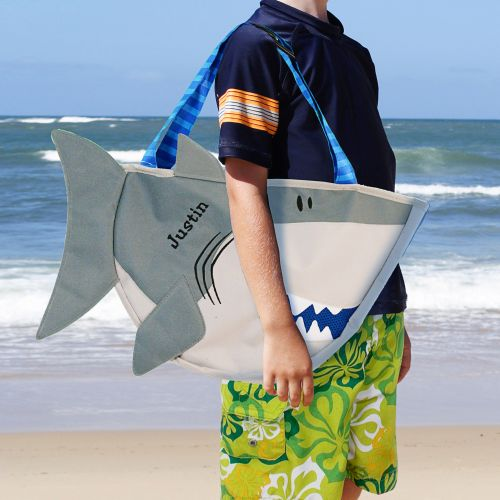 Embroidered Shark Beach Tote with Toys E746796