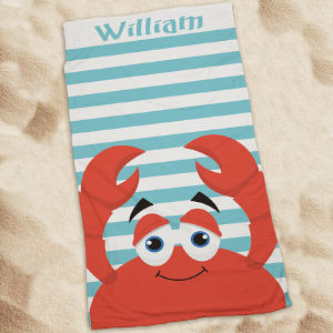 Personalized Crab Summer Beach Throw