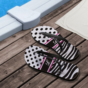 Personalized Zebra Print Flip Flops for Her