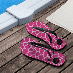 Personalized Pink Animal Print Flip Flops