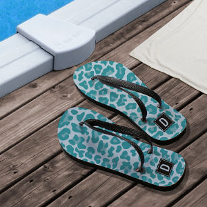 Personalized Blue Animal Print Flip Flops