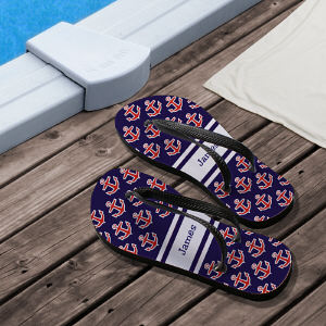 Personalized Anchors Away Flip Flops