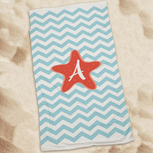 Personalized Starfish Chevron Beach Throw