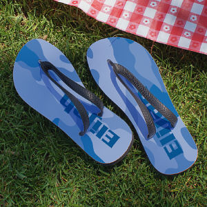 Personalized Blue Camo Flip Flops