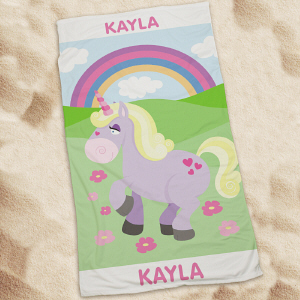 Personalized Unicorn Beach Throw