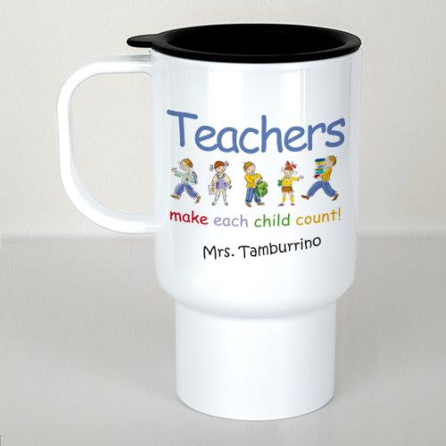 Personalized Make Each Child Count Teacher Travel Mug | Gifts For Teachers